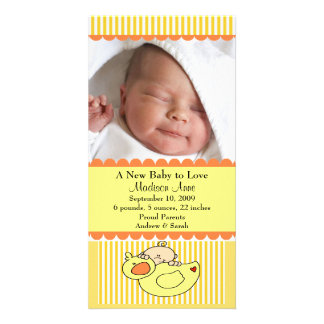 Baby with Duck PHOTO Birth Announcement Card