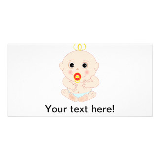 Baby with pacifier cartoon personalised photo card