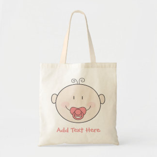 Baby with pink pacifier budget tote bag
