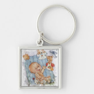 Baby with toys Silver-Colored square key ring
