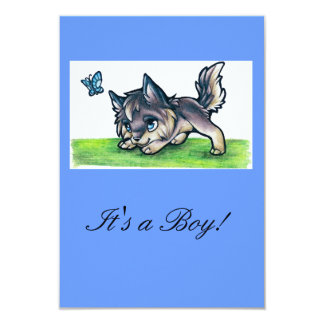 Baby Wolf Invites/Announcements 9 Cm X 13 Cm Invitation Card