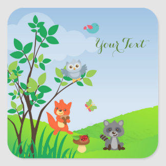 Baby Woodland Animals Square Sticker
