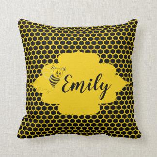 Baby Yellow Black Bumble Bee Honeycomb Honey Cushion