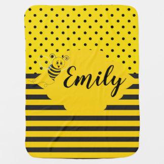 Baby Yellow Black Bumble Bee Striped Polka Dot Baby Blanket