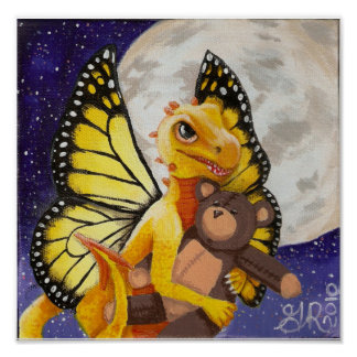 Baby Yellow Dragon Fairy teddy bear moon Poster