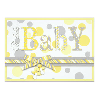 Baby Yellow Gray Dots Baby Shower Card