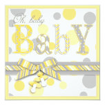 Baby Yellow Grey Dots Baby Shower Invites