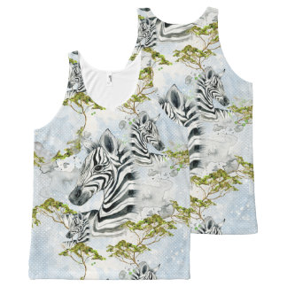 Baby Zebra Africa Savanna Wild Animals black white All-Over Print Tank Top