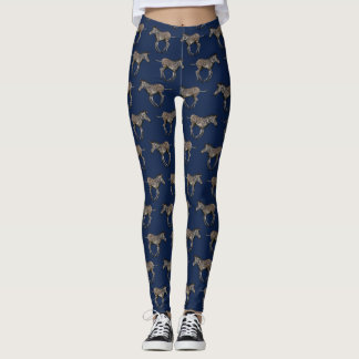 Baby Zebra Frenzy Leggings (Navy)