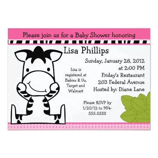 Baby Zebra Girl Baby Shower Invitation