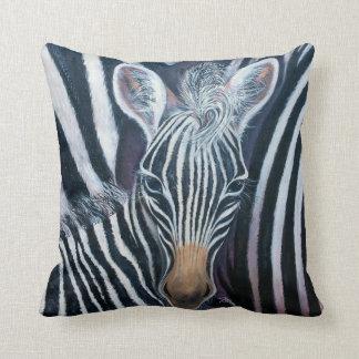 Baby Zebra Make 3 by GG Burns Throw Pillow