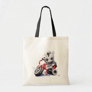 Baby Zebra Riding Red Tricycle Tote Bag