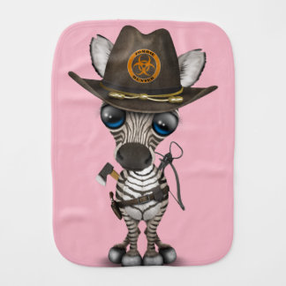 Baby Zebra Zombie Hunter Baby Burp Cloths