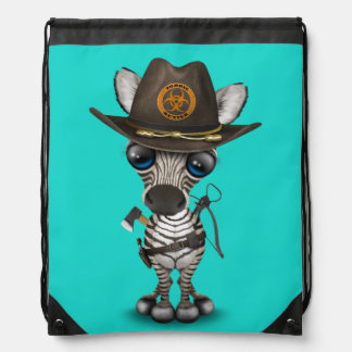 Baby Zebra Zombie Hunter Drawstring Bag
