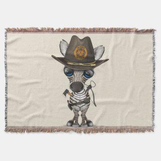 Baby Zebra Zombie Hunter Throw Blanket