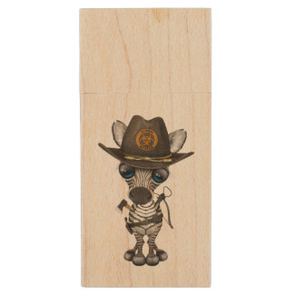 Baby Zebra Zombie Hunter Wood USB Flash Drive
