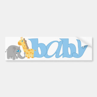 Baby Zoo Animals in Blue Bumper Stickers