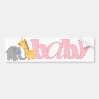 Baby Zoo Animals in Pink Bumper Sticker
