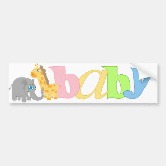 Baby Zoo Animals in Rainbow Pastel Bumper Stickers