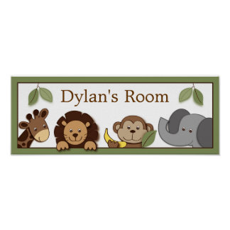 Baby Zoo Jungle Animals Baby Door Sign Art Print