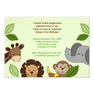 Baby Zoo Jungle Animals Birthday Invitations