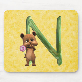BabyBear Toon Monogram N Mouse Pad