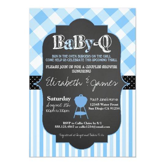 Couples Bbq Baby Shower: BabyQ BBQ Couples Baby Boy Shower Invitation