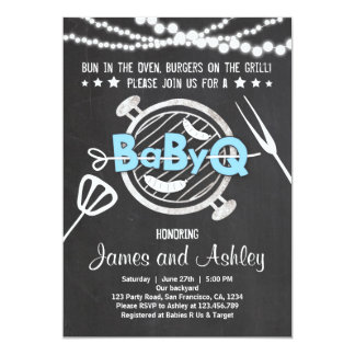 BabyQ BBQ Couples Shower Coed Baby Shower Blue 13 Cm X 18 Cm Invitation Card