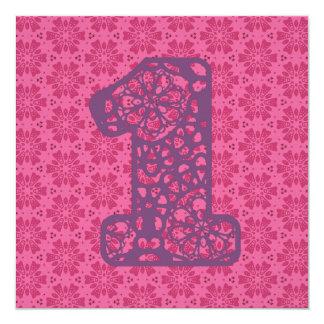 Baby's 1st Birthday Custom Name Modern Pink V06A Invites