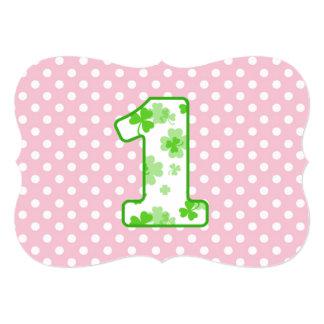 Baby's 1st Birthday Custom Name Shamrock Dots 7 Card