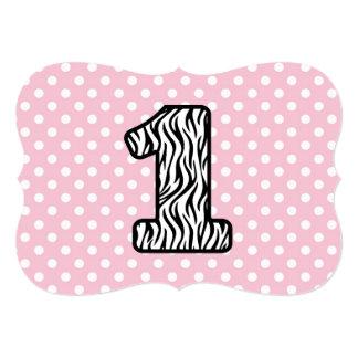 Baby's 1st Birthday Custom Name Zebra and Dots 6 13 Cm X 18 Cm Invitation Card