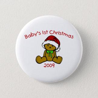 Baby's 1st Christmas 2009 (Teddy Bear) 6 Cm Round Badge