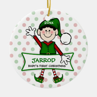 Baby's 1st Christmas (black) Elf Boy2 Ceramic Ornament