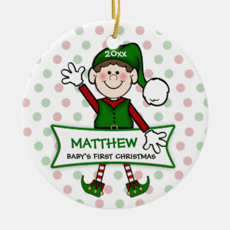 Baby's 1st Christmas (brunette) Elf Boy2 Ceramic Ornament
