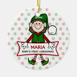 Baby's 1st Christmas (brunette) Elf Girl2 Ceramic Ornament