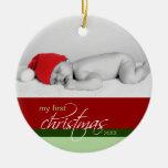 Baby's 1st Christmas Custom Ornament (red)