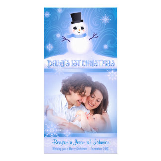 Baby's 1st Christmas Cute Snowman Blue Customised Photo Card