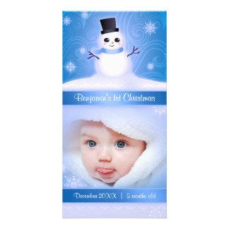 Baby's 1st Christmas Cute Snowman Blue Photo Card Template