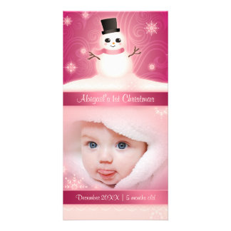 Baby's 1st Christmas Cute Snowman Pink Personalized Photo Card