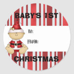 Baby's 1st Christmas gift tag Round Stickers