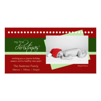 Baby's 1st Christmas Holiday Photocard (red) Custom Photo Card