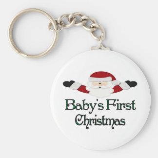 Babys 1st Christmas Basic Round Button Key Ring