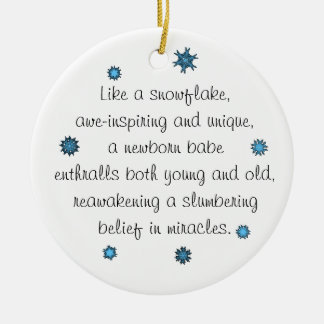 Baby's 1st Christmas Ornament blue snowflake poem