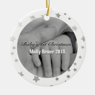 Baby's 1st Christmas Personalized Parent Hands Ceramic Ornament