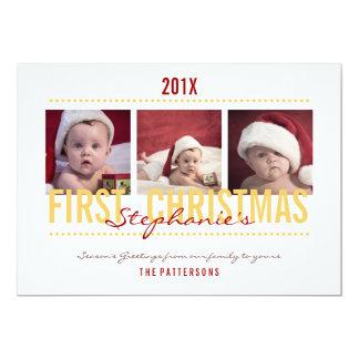 Baby's 1st Christmas Photo Card for Baby 13 Cm X 18 Cm Invitation Card