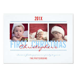 Baby's 1st Christmas Photo Card for Baby Boy 13 Cm X 18 Cm Invitation Card