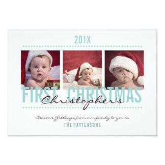 Baby's 1st Christmas Photo Card for Baby Boy 13 Cm X 18 Cm Invitation Card