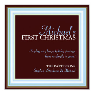 Baby's 1st Christmas Photo Card in Blue & Brown 13 Cm X 13 Cm Square Invitation Card
