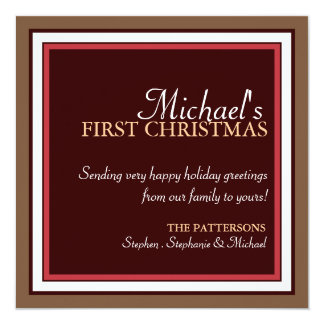 Baby's 1st Christmas Photo Card in Brown & Red 13 Cm X 13 Cm Square Invitation Card