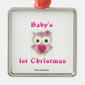 Baby's 1st Christmas Pink Owl Tree Ornament